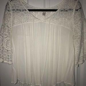 White Eyelet Tassel Top